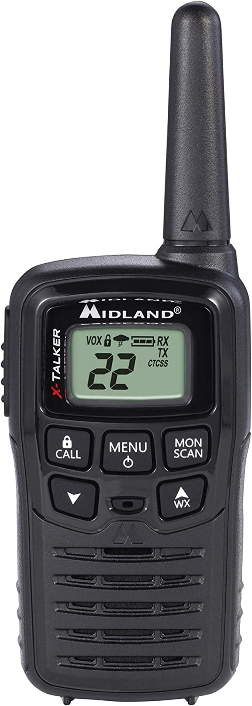 Midland - T10 X-TALKER, 22 Channel FRS Walkie Talkies - Extended Range Two Way Radios, 38 Privacy Codes & NOAA Weather Alert (Pair Pack) (Black)