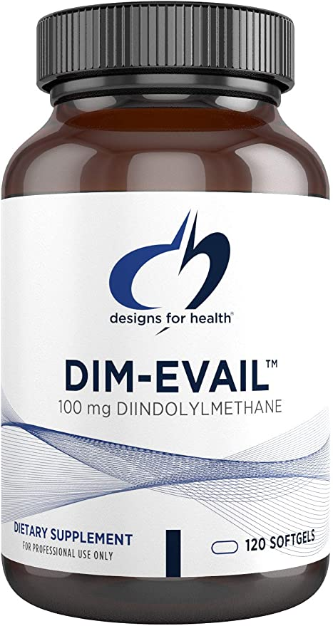 Designs for Health DIM-Evail - 100mg Diindolylmethane Supplement Without Soy with Evail Technology to Promote Absorption - May Help Support Healthy Estrogen Metabolism (120 Softgels)