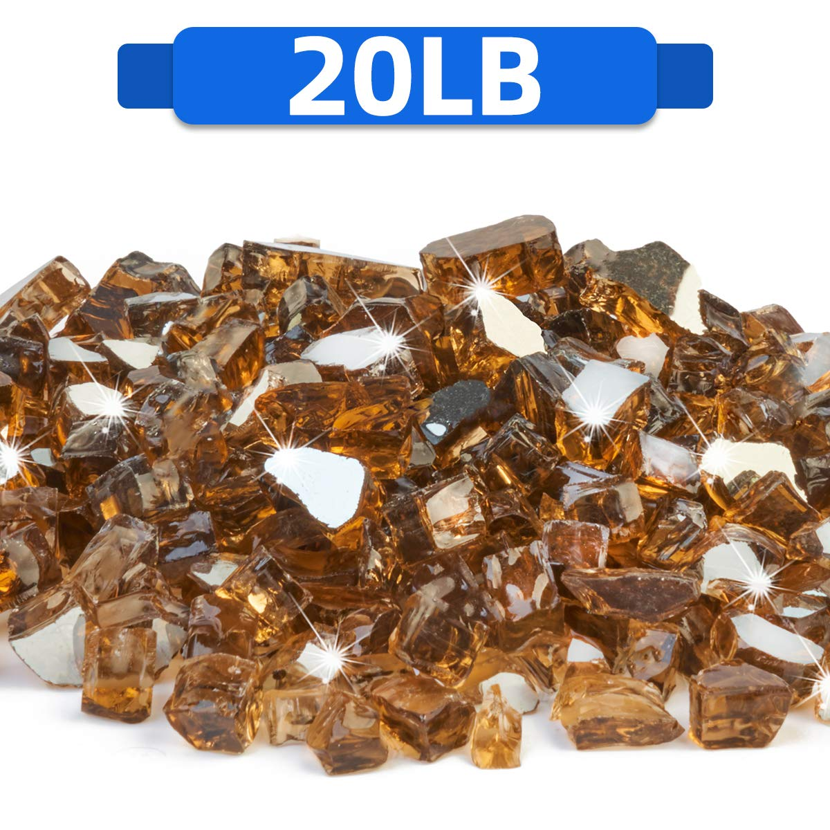 FutureWay Fire Glass for Fire Pit, Amber Brown Reflective Fire Glass Rocks for Indoor and      Outdoor Fireplace Fire Table, 20 Pound by FutureWay