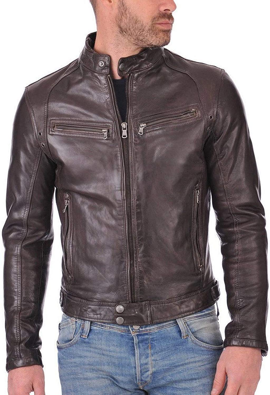 brandMe Mens Genuine Leather Pure Lambskin Biker Jacket MM499
