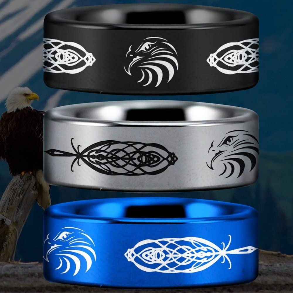 Friends of Irony Tungsten Carbide Celtic Eagle Ring 8mm Fine Jewelry Designed For Maximum Comfort Fit For Men And Women Use Wedding Band And Anniversary Ring Perfect Gift