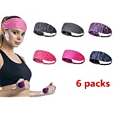 6 Pack Yoga Sports Headband Elastic Turban Hairband Mens Womens Hair Band Sweatband for Workout Gym Fitness Yoga