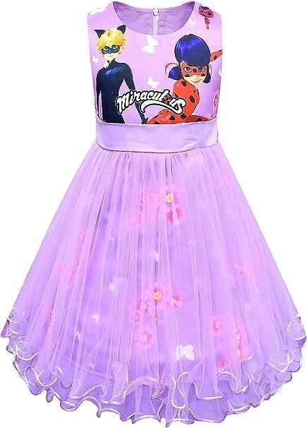 New front Vestido de Princesa Disfraz Ladybug y Cat Noir Niña sin ...
