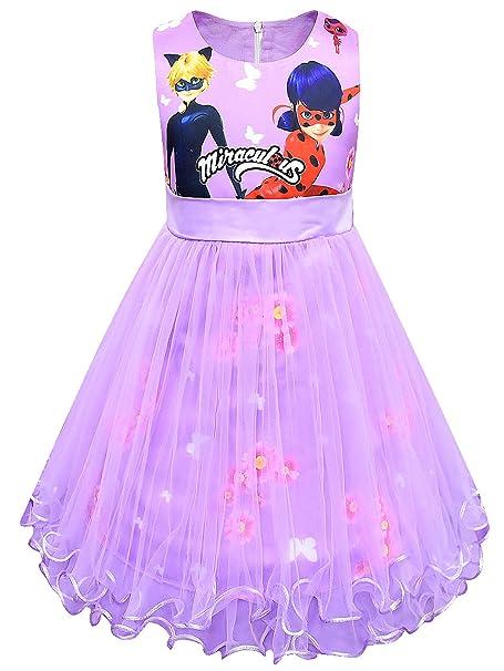 New front Vestido de Princesa Disfraz Ladybug y Cat Noir ...