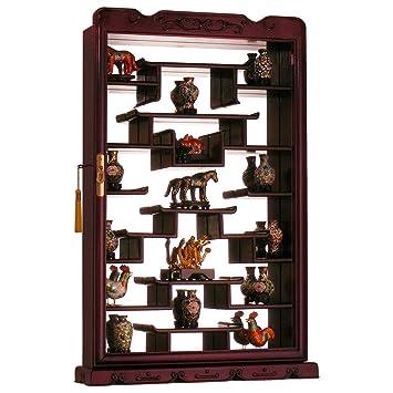 Rosewood Wall Curio Display Cabinet - Dark Cherry