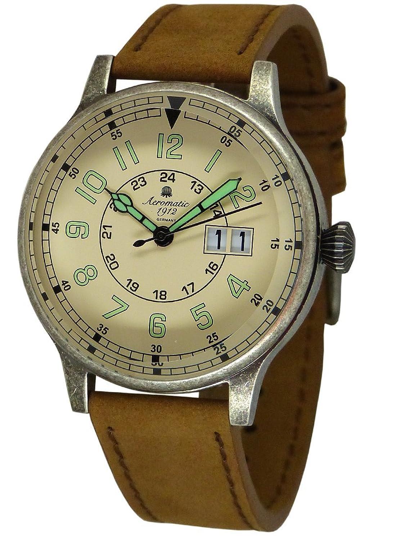 Retro MilitÄr Flieger Uhr - Gross-Datum -Aeromatic 1912 A1254