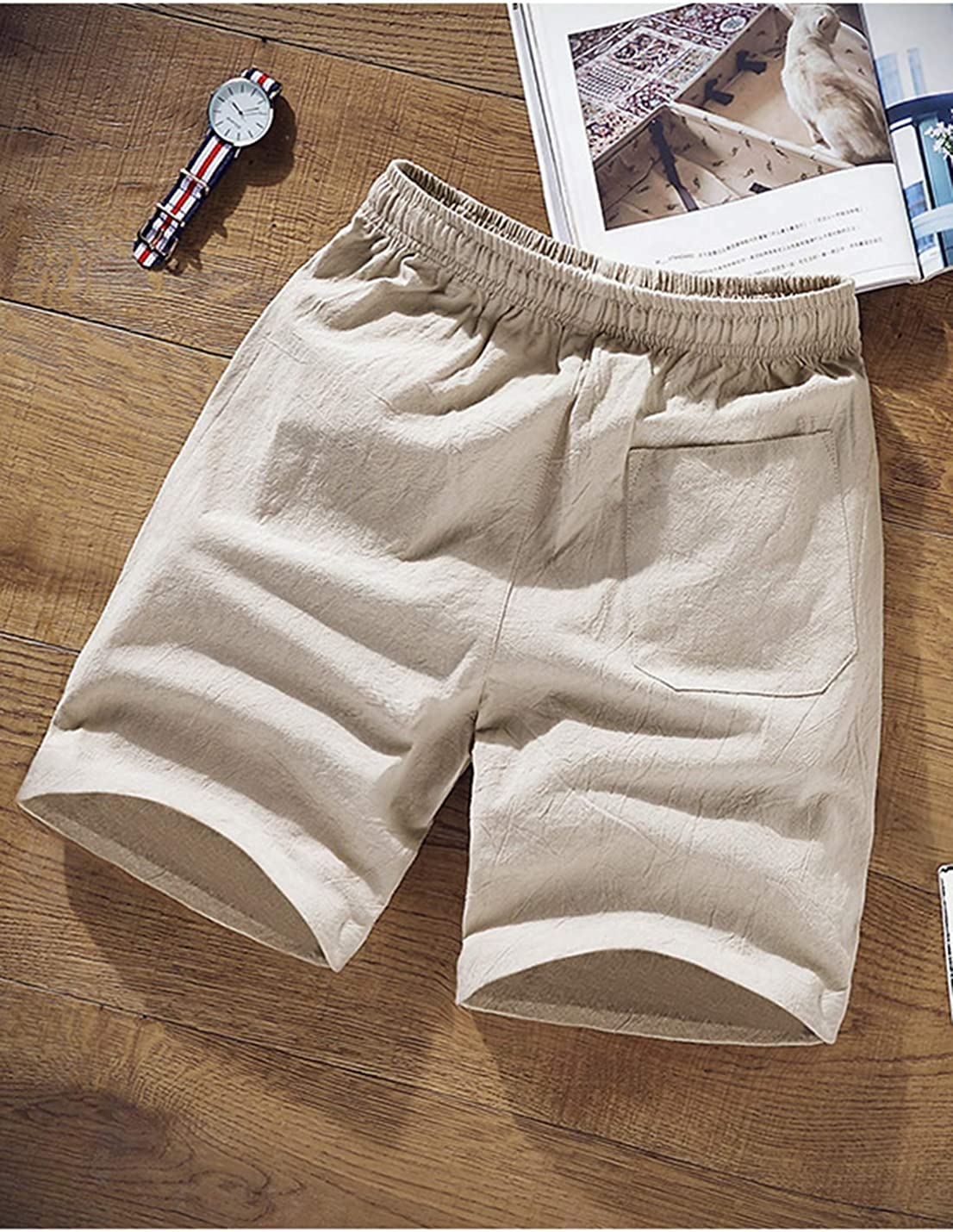 Lentta Mens Linen Casual Classic Fit Summer Beach Shorts with Drawstring