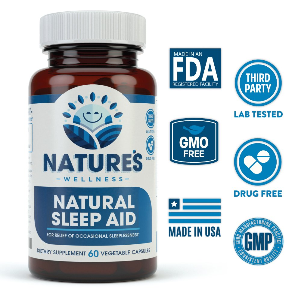 Natural Sleep Aid for Adults by Nature's Wellness, 60-Count | 100% Herbal Remedy Sleeping Pills, Safe & Effective Natural Insomnia Relief Supplement | Non-Habit Forming Blend Allows Deep Sleep & Rest by Natures Wellness (Image #2)