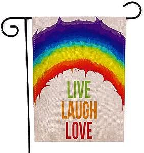 Mrcrypos Live Laugh Love with Rainbow House Double Sided Garden Flag, Colorful Burlap Flag Yard Outdoor Decoration, Seasonal Outdoor Flag 12.5X18 Inch