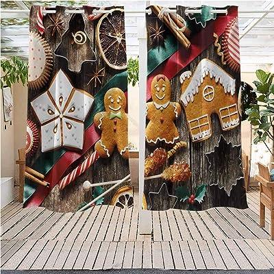Indoor Outdoor Curtains Gazebo Outdoor Window Panels Christmas Decoration Gingerbread Man Delicious Homemade Cookies Pergola Indoor Outdoor Waterproof (38W X 45L) : Garden & Outdoor
