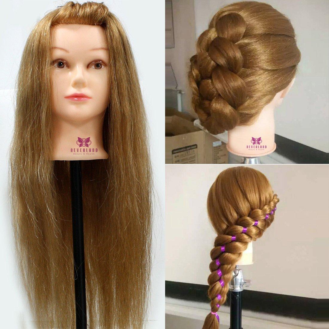 Neverland - Testa di manichino per l'addestramento di apprendisti parrucchieri, modello professionale da 66 cm, capelli reali al 95% con morsetto di fissaggio