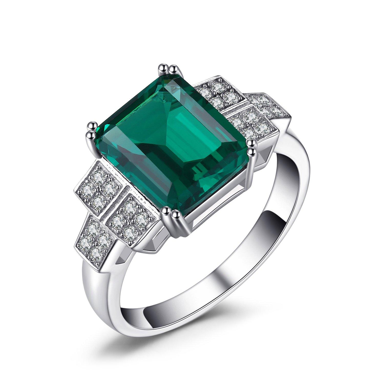 JewelryPalace 2.82ct Elégant Bague Femme en Argent Sterling 925 en Nano Russe Imitation Emeraude Verte EU-038366CLR