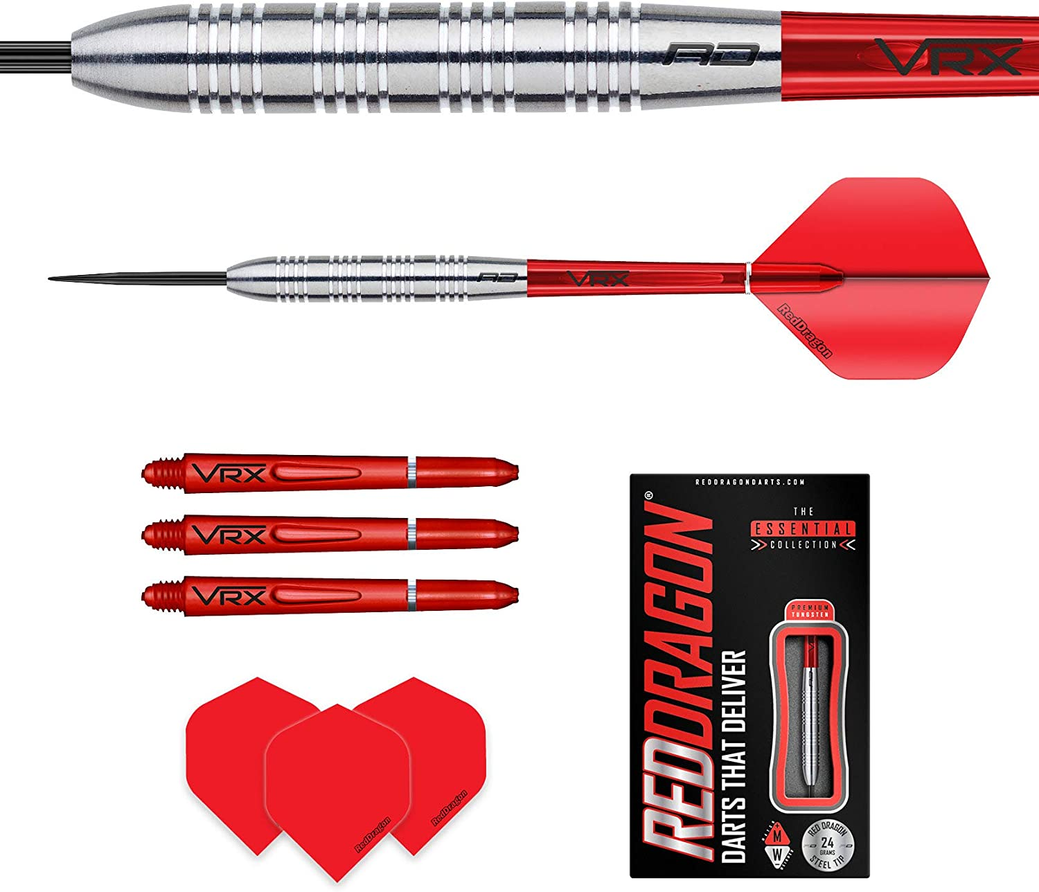 Red Dragon Hell Fire B Tungsten Darts Set with Flights /& Stems