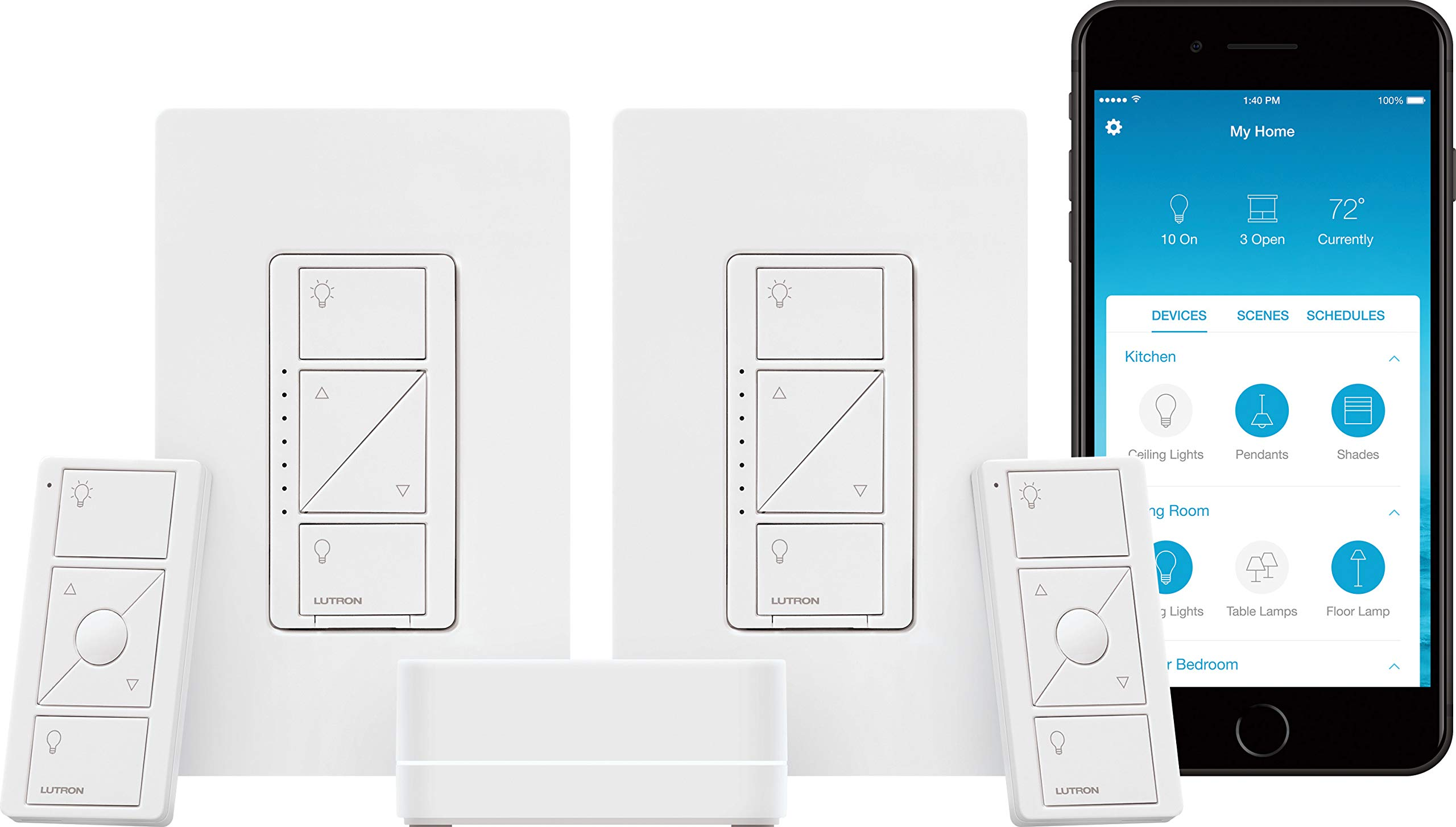 Lutron Caseta Wireless Smart Lighting Dimmer Switch (2 count) Starter Kit, P-BDG-PKG2W-A, Works with Alexa by Lutron