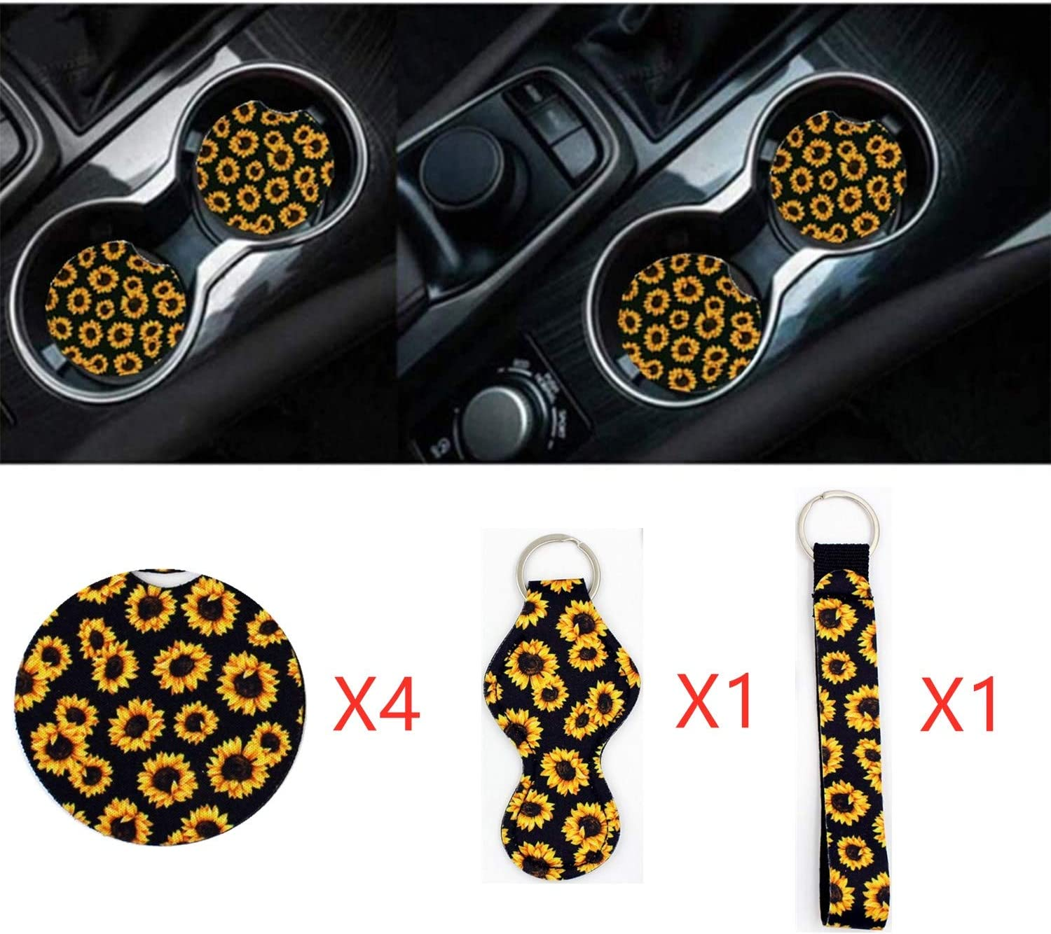 Guoord 6Pack of car Interior Accessories,4 x 2.56 Silicone Car Coasters Cup Holder/& 1 x Bracelet Lanyard Keychain/& 1 x Chapstick Holder Lanyard Keychain,Unique Women Gift Sunflower Car Coasters