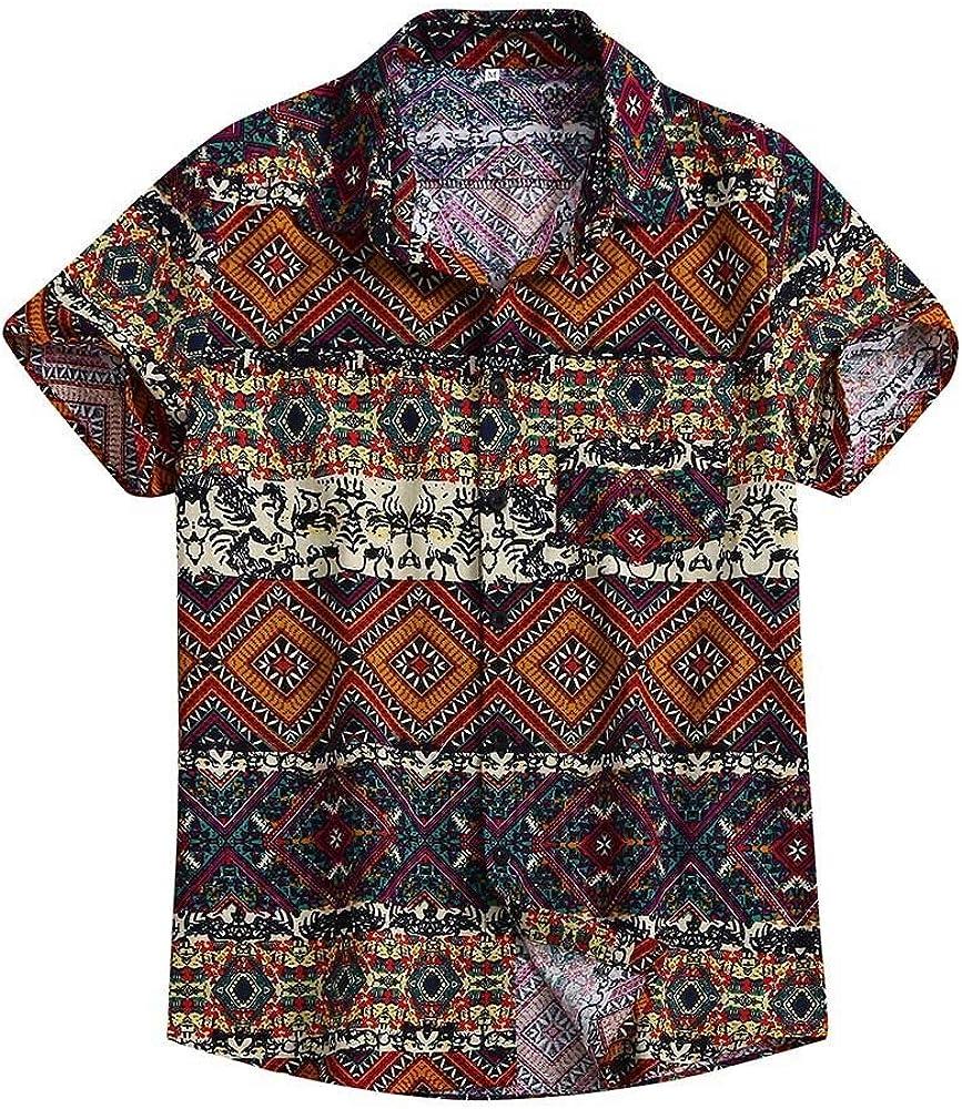 Luckycat Camisa de Lino Hombre Camiseta de Manga Corta para Hombre Camisas Henley de Manga Corta para Hombre Algodón de Lino Estampado de mandarín Camisas Suave Cómoda Blusa Bloque de Color Ropa: