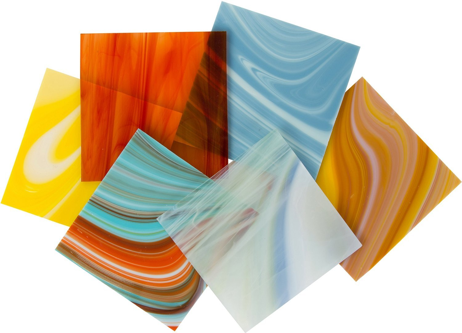 On Sale! COE 96 Deluxe System 96 Assorted Fusible Glass Pack - 4 X 4 Sheets - 6 Pack by iDichroic