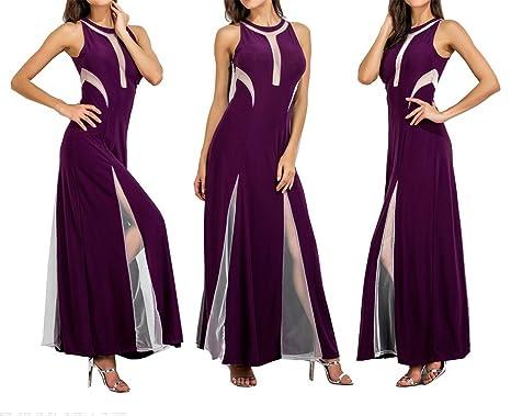 AS503anakla Fashion maxi vestidos de malha patchwork NEW mulheres verão longo dress tanque mangas sólidos vestidos
