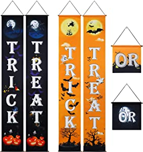 2 Sets Halloween Decorations Outdoor Trick or Treat Halloween Signs Halloween Decor Banner Welcome Signs for Front Door Porch Wall or Indoor Home Halloween Decorations Supplies