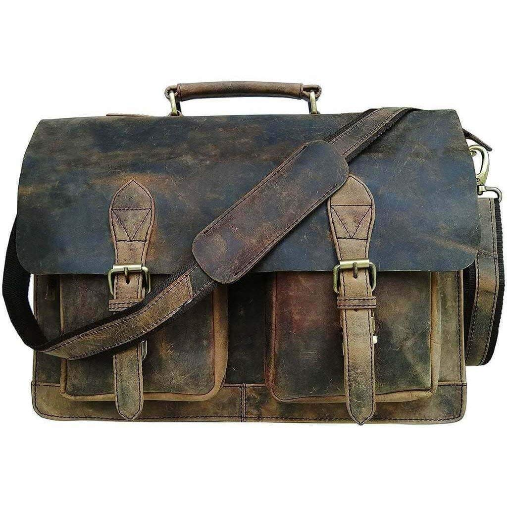 Vintage Retro Buffalo Leather Briefcase (18'')