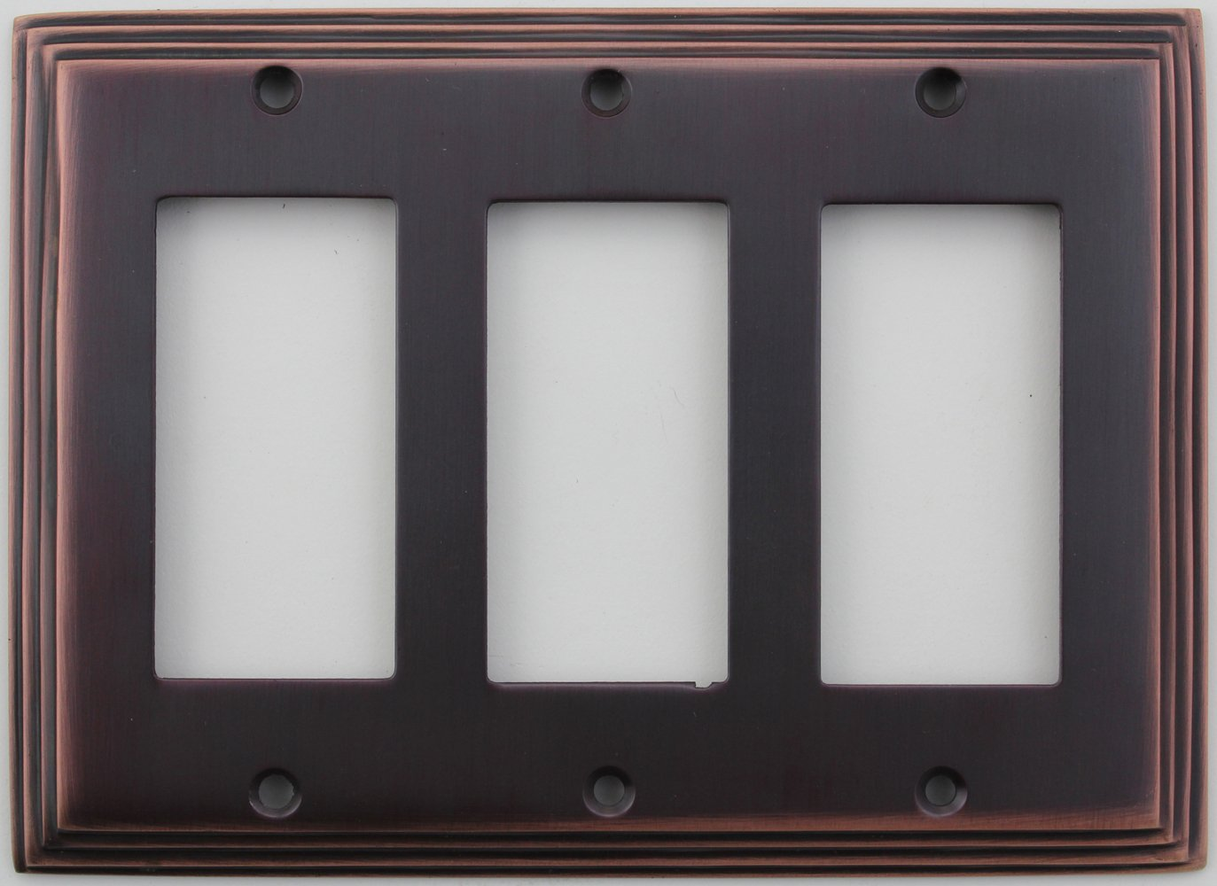 Classic Accents Deco Antique Copper Three Gang GFI/Rocker Opening Wall Plate