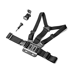 Luxebell Chest Mount Harness Strap for Gopro Hero 8 7 6 5 4 3 3+ Max Session Black Silver Fusion and Sjcam with J-Hook - Fully Adjustable Strap Size (Color: Chest Strap)