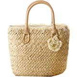 Felice Lady's BeachTote Bag Candy Color Straw Handbag Tote With Zip Top Woven Bag