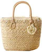 Meliya Summer Straw Beach Bags Hand Weave Tote Bags Top Handle Shopping Bags(Color Beige)