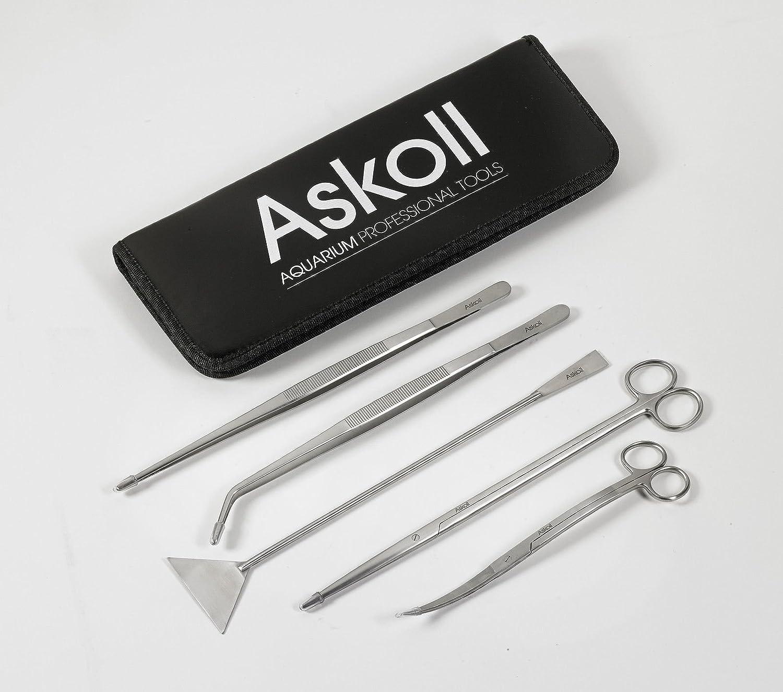 Askoll accessory kit for aquarium care  scissors, tweezers, spatula