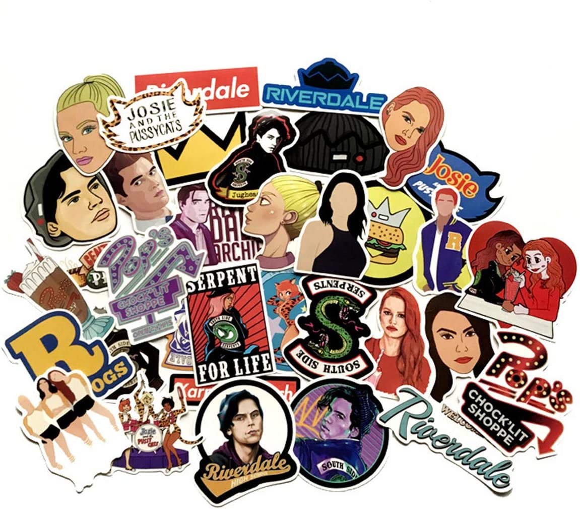 35pcs Sticker Decals - Riverdale Laptop Vinyl Stickers car Sticker for Snowboard Motorcycle Bicycle Phone Computer DIY Keyboard Car Window Bumper Wall Luggage Decal Graffiti Patches (Riverdale)