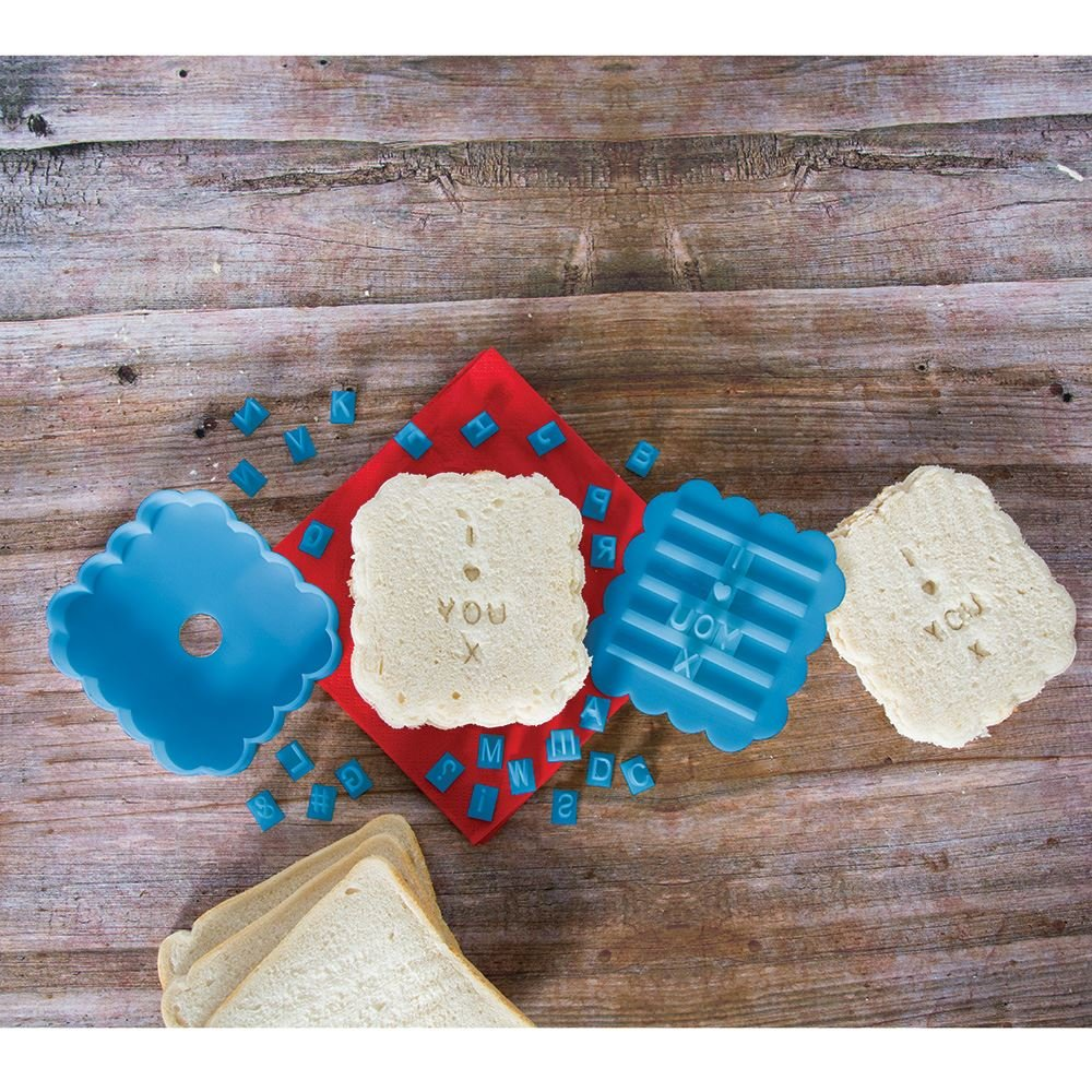 ASAB Plastic Sandwich Bread Stamp Press Toast Stencil Personal Message Imprint Cutter Mould Kitchen Tool Kit - Blue Make Your Own Message Sandwich Press