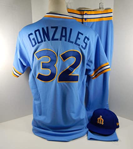 bbc84a212b4 2018 Seattle Mariners Marco Gonzales  32 Game Used Blue 1979 Jersey Pants  Hat - Game
