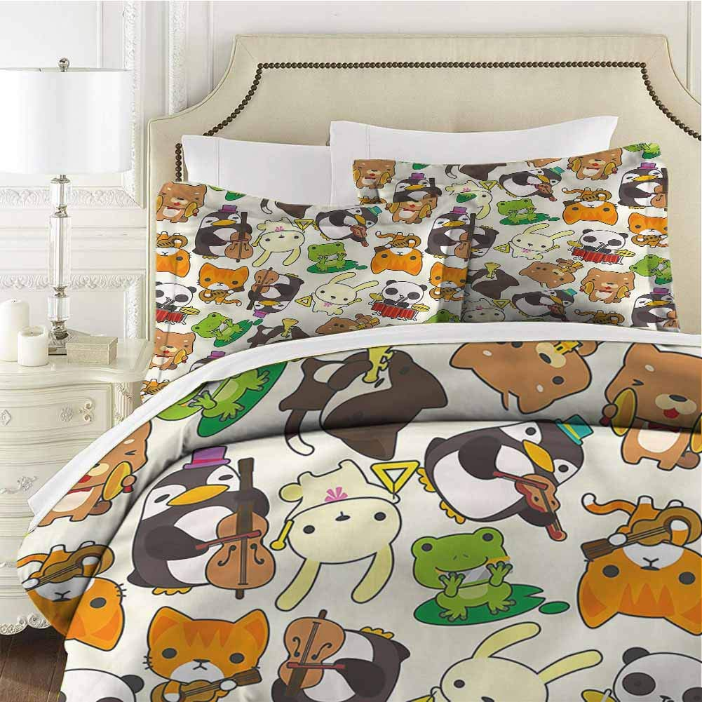Nursery Bedding Set Full Cartoon Animal Music Full (80x90 inches) - 3 Pieces (1 Duvet Cover + 2 Pillow Shams) - Ultra Soft and Breathable Comforter Cover