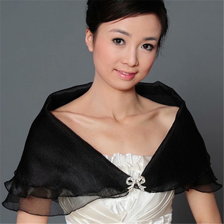 Baifeng Wedding Bridal Dress Organza Shrug Shawl Bolero Coat Tulle Wrap Shawl,