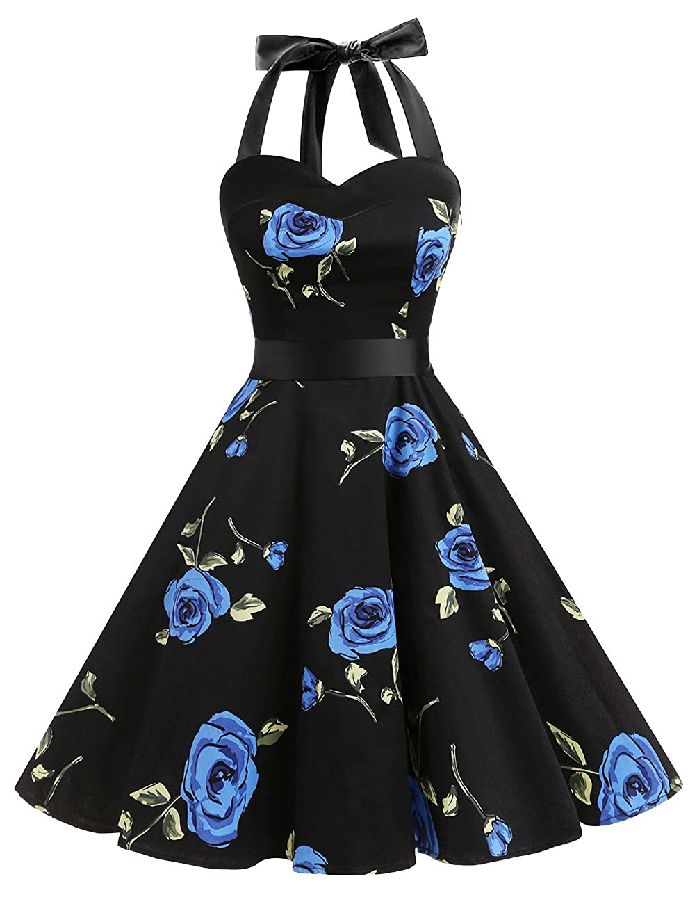 TALLA M. Dresstells® Halter 50s Rockabilly Polka Dots Audrey Dress Retro Cocktail Dress Blueflower M