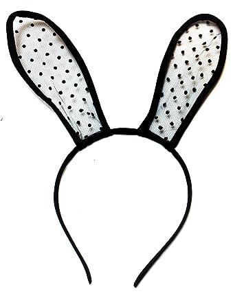 Hen Party Rabbit Ears Black /& White Ladies Bunny Ear Headband Set With Fur