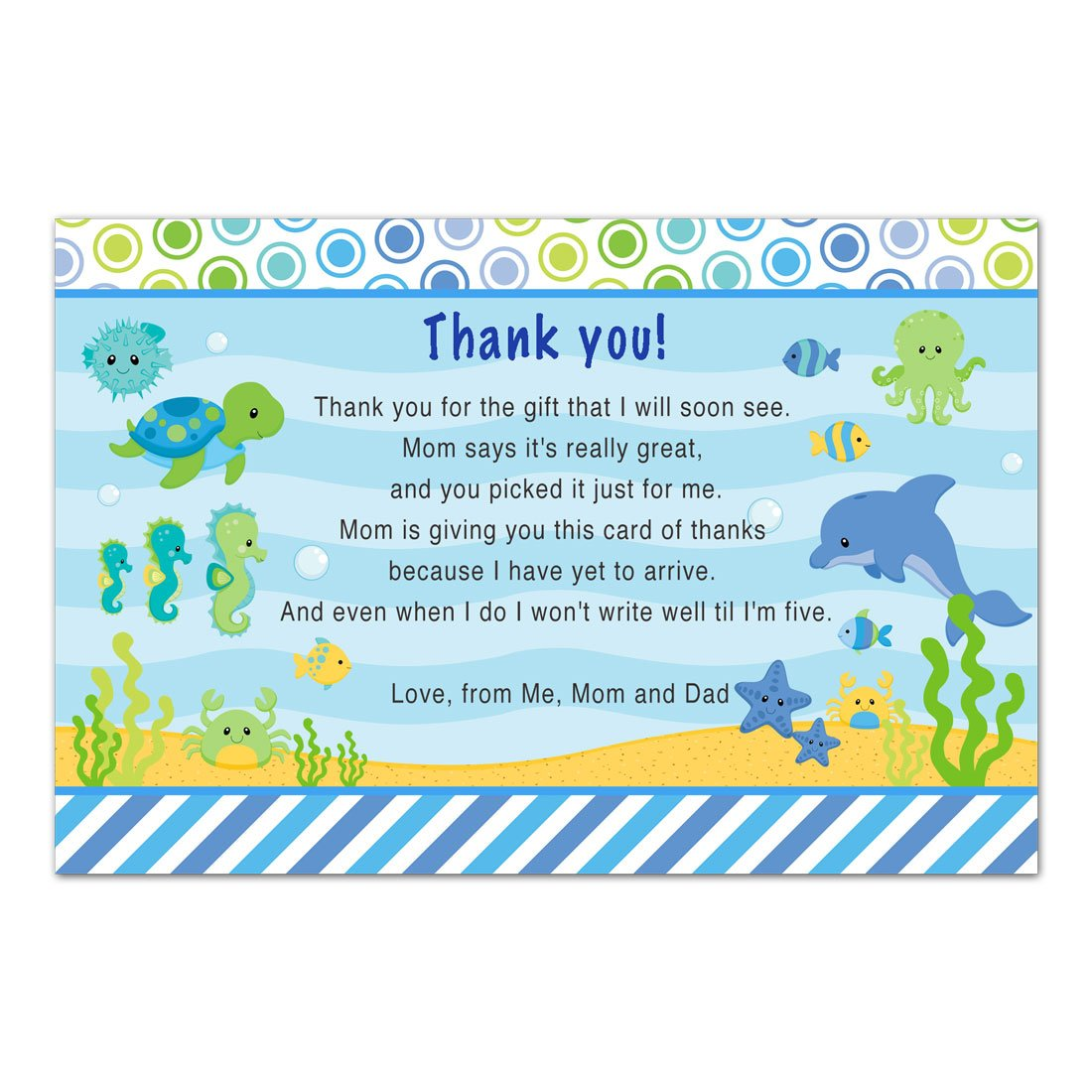 30 Thank You Cards Boy Baby Shower Under The Sea Cards Photo Paper