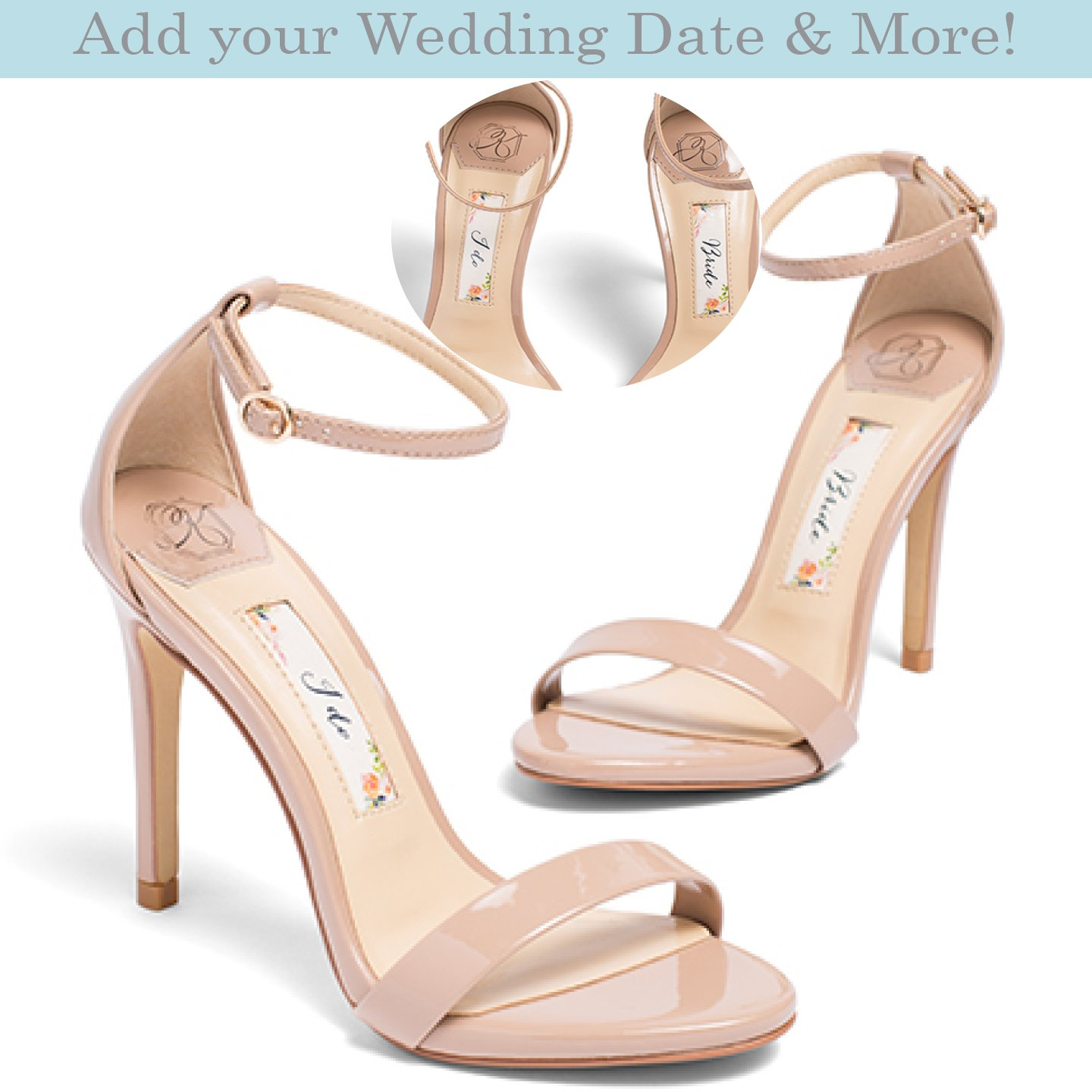 "deda802ff91 Amazon.com  Wedding Shoes -""Patent-Pending"" personalization - Nude wedding  sandal - Style Samantha  Handmade"