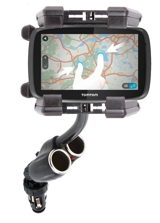 DURAGADGET Soporte De Coche Flexible Para Los GPS TomTom GO 600 / TomTom GO 6000 - Con Doble Cargador Para Mechero Del Coche
