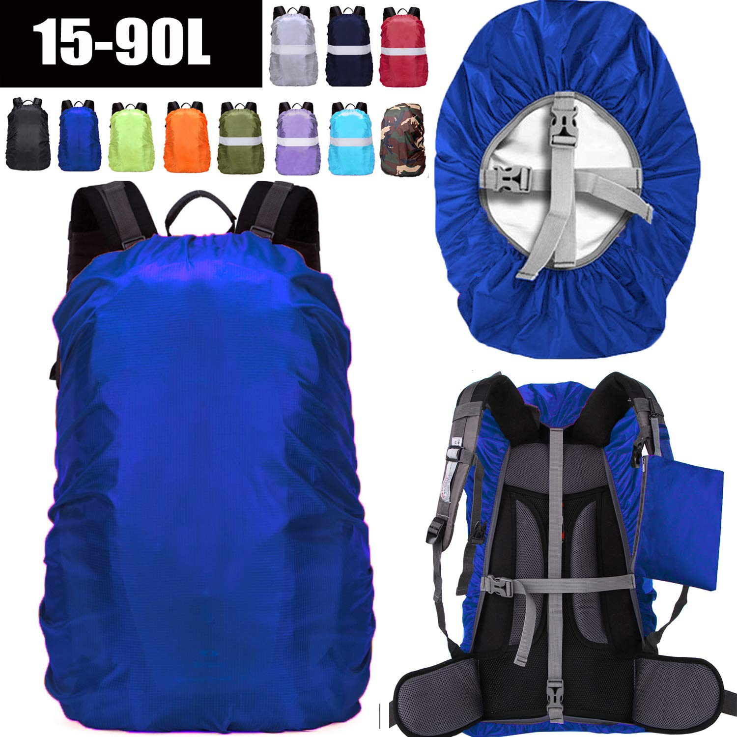 ZM-SPORTS 15-90L Upgraded Waterproof Backpack Rain Cover,with Vertical Adjustable Fixed Strap Avoid to Falling,Gift with Portable Storage Pack (Blue, 2XL(for 65-75L Backpack) by ZM-SPORTS