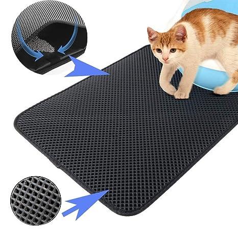 Ilucky Cat Litter Mat Estera de Arena Gato Alfombra de Basura Impermeable Trapping Mat Doble Capa