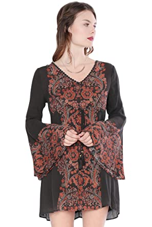 baa3bcd3dc Vintage Baroque Bell Sleeve Peasant Dress at Amazon Women s Clothing ...