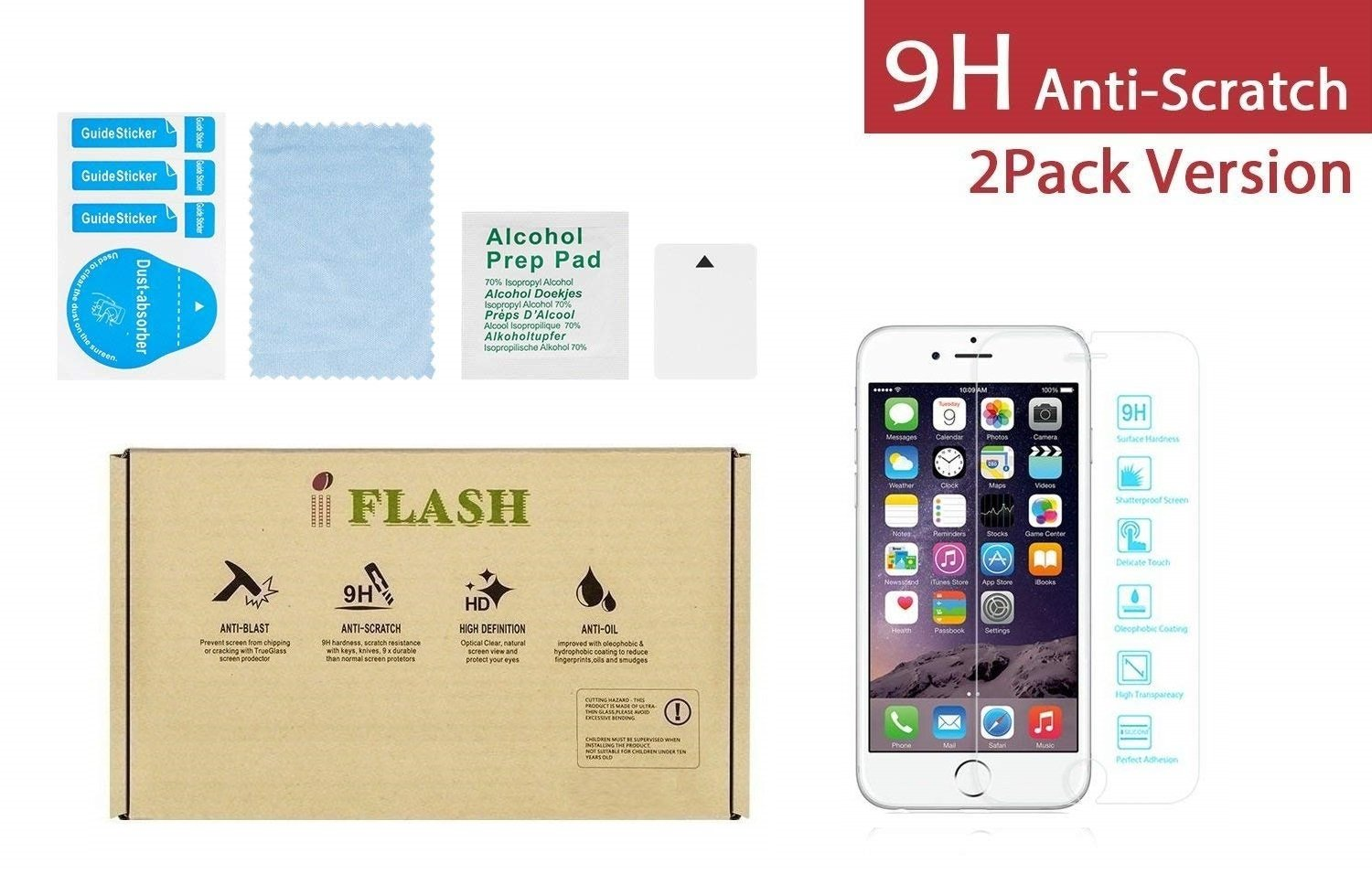 """iPhone 7/8 Plus Glass Screen Protector, iFlash [2 Pack] Crystal Clear Tempered Glass Screen Protector for iPhone 7 Plus / 8 Plus 5.5"""" - Case Friendly/Bubble Free / 3D Touch/Crystal Clear Version"""