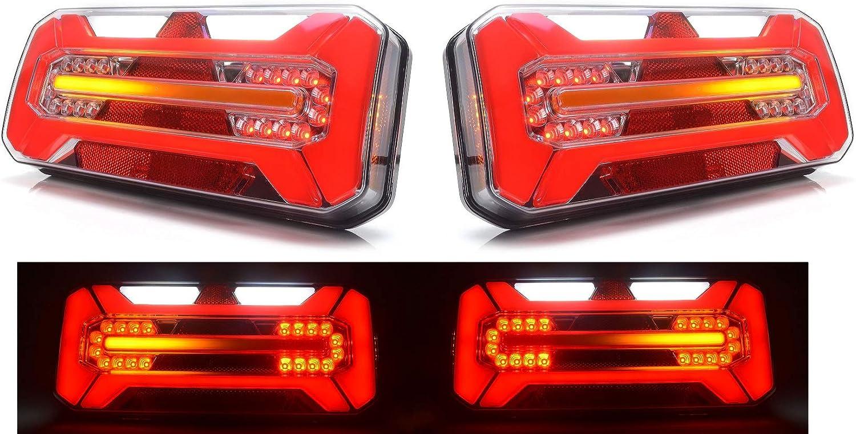 Fum/ée DREAMIZER Universel 40 LED Double Feu arri/ère de Moto Feu de Freinage,Indicateurs de Clignotant Lampe de marche avec Support de plaque dimmatriculation pour Chopper Street Bike Dirt Bike
