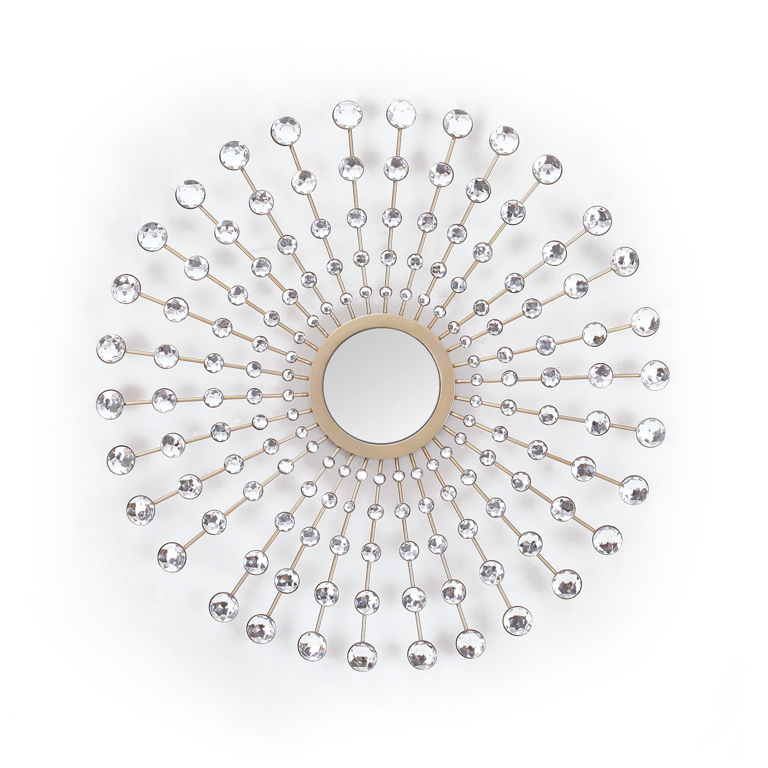 Asense Metal Diamond Pearl Drop Wall Decor with Mirror