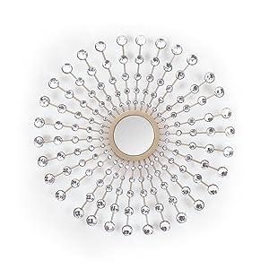 Asense Metal Diamond Pearl Drop Wall Decor with Mirror