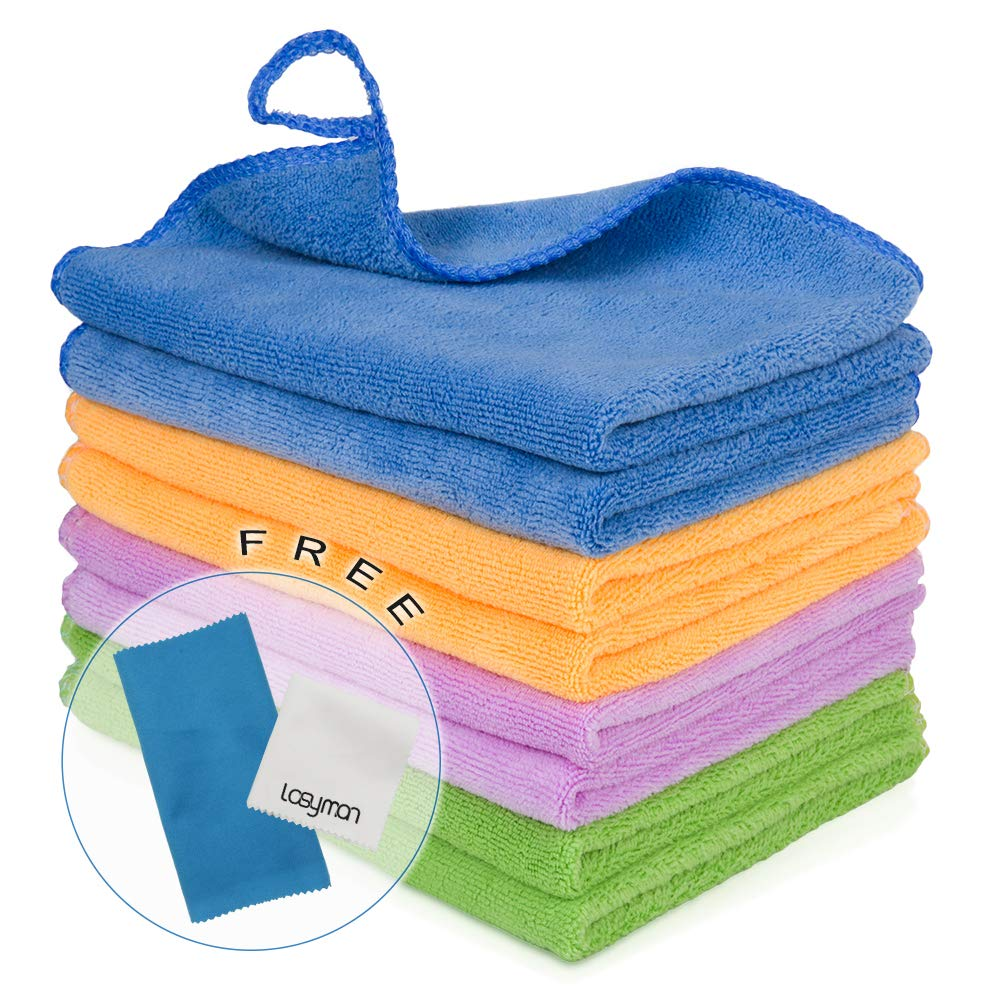 8PCS Cleaning Towels for House - Softer Microfiber Cleaning Rags for Kitchen, Car, Glass, Stainless Steel, Premium Absorbent Cleaning Cloths, 2PCS Screen Cloth as Gift