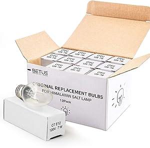 Betus [Original Replacement] Long Lasting 7 Watt Dimmable E12 Socket Incandescent Candelabra Salt Lamp Bulb - Value Pack of 12