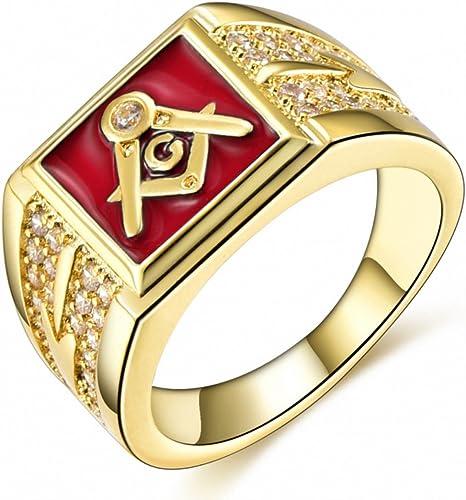 Masonic Ring Blue IP Tungsten Carbide Ring Freemason Mens Tungsten Wedding Band