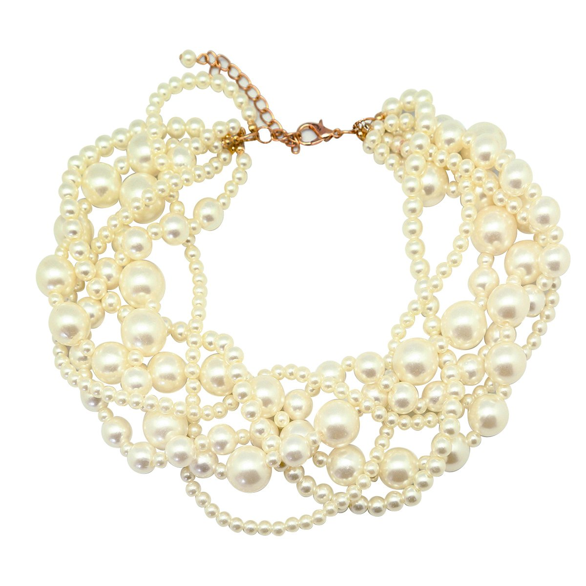 We We Fashion Jewelry Pendant Faux Pearl Choker Chunky Statement Bib Necklace (White)